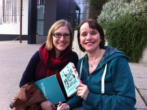 With Zoe and her bookmarked copy!